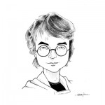 Caricature Harry Potter. Encre.