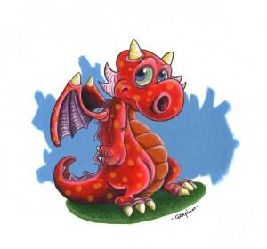 Dragon, Acryliques sur carton.